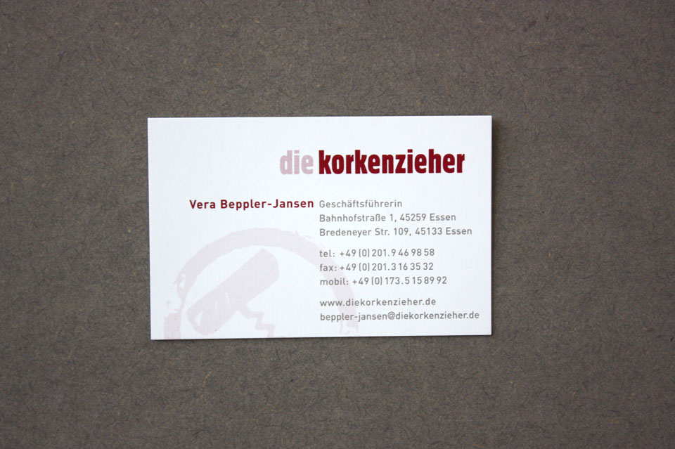 Visitenkarte Korkenzieher